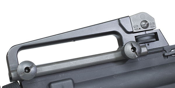 The carry handle is easily removed from the flattop upper receiver by loosening two bolts.
