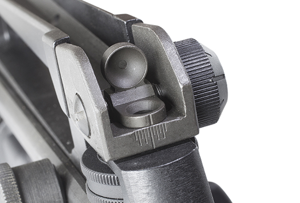 The rear sight is well protected in the carry handle, and it's adjustable for a small diameter (longer, precise shots) and a wider one for fast, CQB-style work.