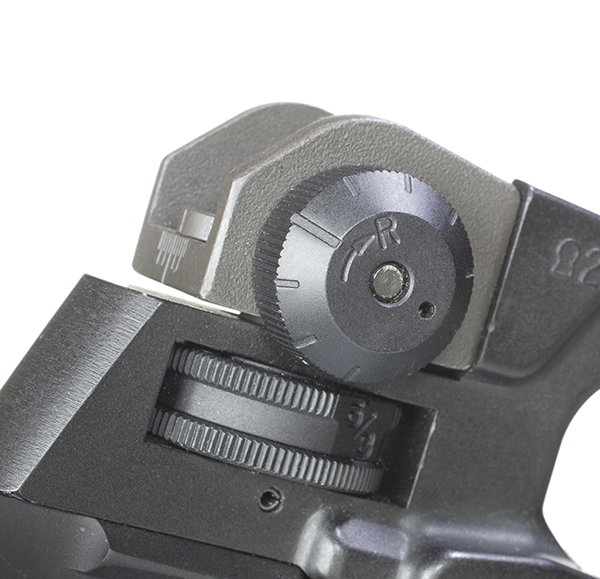 The rear sight is both windage and elevation adjustable.